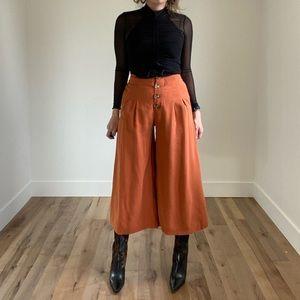 ZARA TRF Collection Burnt Orange Wide Leg pant